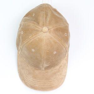 Tan velvet baseball hat cap hard panel adjustable